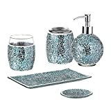 WHOLE HOUSEWARES 5-Pieces Bathroom Accessory Sets Crackle Mosaic Glass Ensemble-Lotion Dispenser/Toothbrush Holder/Tumbler/Vanity Tray/Soap Dish (Navy Blue)