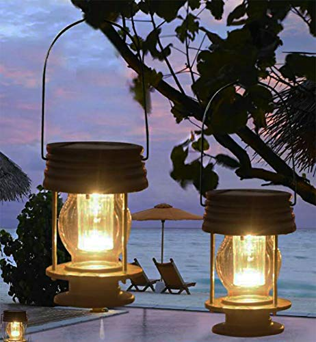 Lanterne a energia solare da appendere, confezione da 2 lampade da giardino a LED vintage con manico, per sentieri, cortile, patio, decorazione per alberi, spiaggia, pavimentazione moderno Luce calda.