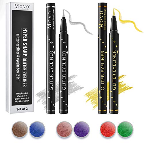 New-Tech Colorful Glitter Liquid Eyeliner & Eyeshadow 2 in 1 – Set of 2 Colors Soft and Hyper Sharp Tip Brush Molds Liquid Eyeliner,Lasting Waterproof Glides Smoothly Eyeliner (Gold & Silver)