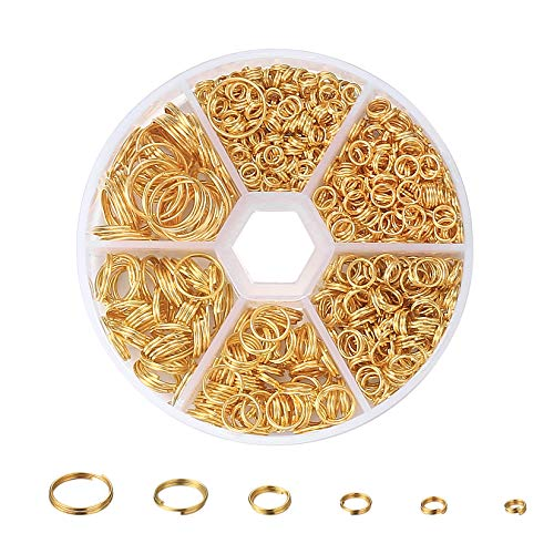 690 Pcs Open Jump Rings, 4/5/6/8/10/12 mm Gold Double Split Rings Set with Storage Box, Double Loop Rings for Jewelry Making, DIY Crafts