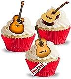 Vorgeschnittene Akustikgitarre, essbare Reis-/Oblatenpapier, Cupcake-Dekoration für Partys, Geburtstage, Hochzeiten, Musik-Dekorationen
