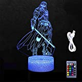 Star Wars a Darth Vader Toys 3D LED Optical Illusion Bedroom Decoration Table Lamp with Remote 7 Colors Change Dimmable Acrylic Visual Night Light Birthday Christmas Gift for Child,kids,Toddlers