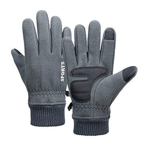Axdwfd Pantalla Táctil Guantes De Bicicleta Finger Completo Guantes Transpirables Invierno Guantes Cálidos (Color : Grey)