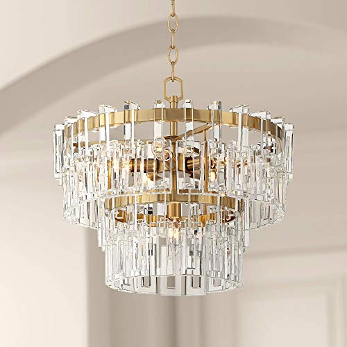 Luxem Burnished Brass Crystal Chandelier 18 3/4