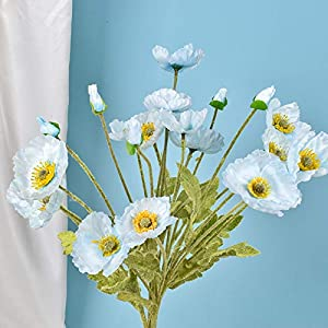 SFTYUFS 3PCSRed Poppies Artificial Flowers with Real Look Realistic Pu Artificial Poppies Flowers High Quaulity Fake Flowers for Wedding Home Kitchen Blue