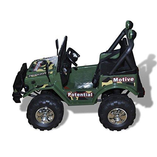 RC Auto kaufen Kinderauto Bild 3: SENLUOWX Kinderauto Elektroauto Kinderfahrzeug Auto 2-Sitzer Armeegrün Kinderauto 3 – 5 km/h*