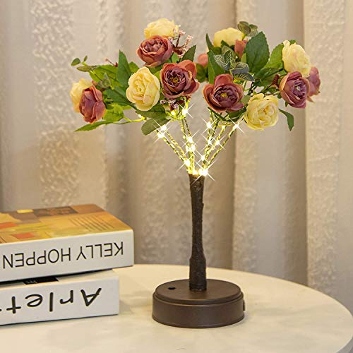 30 LED Tabletop Tree Light (2 Colors Roses) Rose Tabletop Tree Light, Arificial Flower Bonsai Tree with Lights Gift for Girls Teens LED Desk Tree Lamp for TableHome Indoor Christmas Living Room Decor