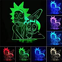 Lámpara De Ilusión Rick And Morty 3D Led Night Light 7 Lámpara De Cambio De Color Decoración De La Habitación Figura De Acción Modelo De Juguete Juguete Para Cumpleaños Regalo De Navidad-1