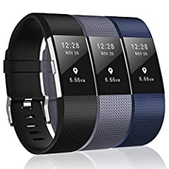 """High Quality Material: replacement accessory bands for Fitbit Charge 2 is made of flexible and durable elastomer material with surgical-grade stainless steel buckle, Size: Small ( 5.5""""-6.7"""" ), Large ( 6.7""""-8.1"""" ) Pratical Function: Our classic replac..."""