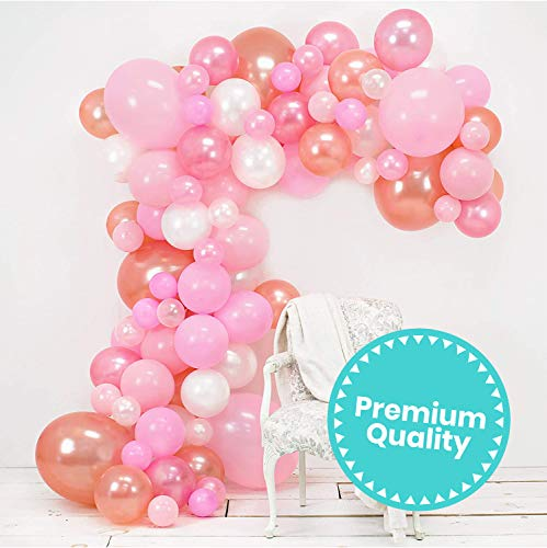 Junibel Balloon Arch & Garland Kit | Pink, Blush, Rose Gold & White Sm - Xlrge balloons | Adhesive Dots | 17 Decorating Strip | Wedding, Baby Shower, Graduation, Anniversary Bachelorette Party