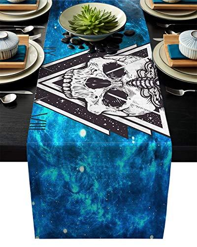 Pag Crane Camino de Mesa de Tela Duradera, Camino de Mesa Lavable de Calavera de Abeja Triangular Azul Cielo Estrellado de ensueño para el hogar/Cocina/Mesa de Comedor