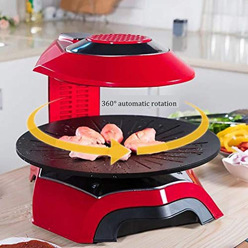 Eortzzpc Professional Bistecchiera con Termostato Regolabile, Elettrica Grill, Piastre Antiaderenti Removibili per Diversi Tipi di Cottura (Color : Red)