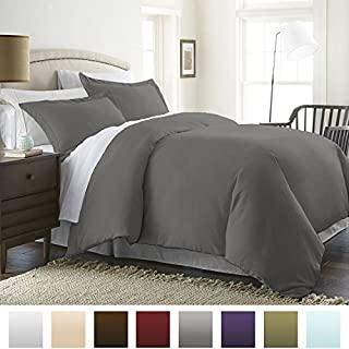ienjoy Home Beckham Luxury Soft Brushed 1800 Series Microfiber Duvet Cover Set - Hypoallergenic, Queen, Gray