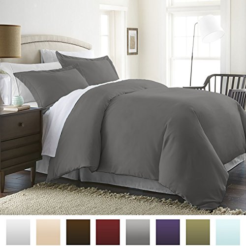Beckham Hotel Collection Luxury Soft Brushed 1800 Series Microfiber Duvet Cover Set with Zipper Closure - Hypoallergenic - King-Cal King, Slate Gray