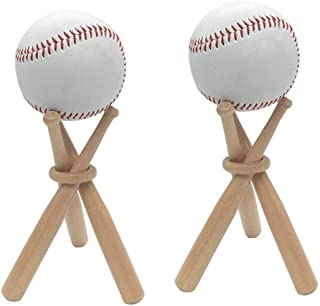 SITAER 2 Pack Baseball Stand Holder Wooden Base Ball Stand Display Holder