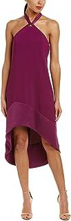 فستان ترينا ترك نسائي من كريب كارميل برقبة شريطية لامعة