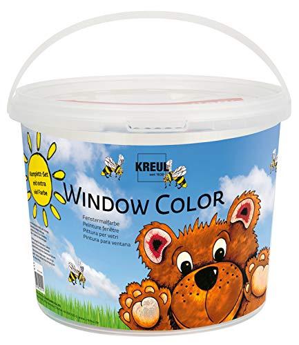 Kreul 40151 - Window Color Power Pack Bär, für kleine und große Kreative, 7 x 125 ml Fensterfarben, 125 ml Konturenfarbe schwarz, 2 verschiedene Folie, Feindüse und Motivvorlagen