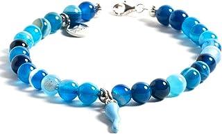 Braccialetto unisex pietra dura naturale Agata Azzurra corno portafortuna e chiusura argento 925 Firmato desja