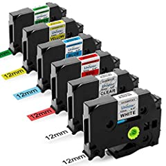 6-Pack repalcement for Brother label maker tape TZe-231 TZe131 TZe431 TZe531 TZe631 TZe731, Color: Black print on White/Clear/Red/Blue/Yellow/Green background, Size: 1/2 Inch x 26.2 Feet (12mm x 8m) TZ tape. Unistar replacement for 12mm .47 laminated...