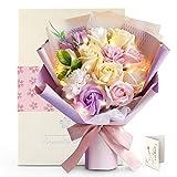 YOBANSA ソープフラワー 花束 枯れない花 鑑賞用 バレンタインデー花 敬老の日 女性 誕生日 記念日 結婚祝い 発表会 入学祝い カード付き