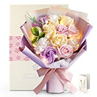 YOBANSA LED ソープフラワー 花束 ブーケ 石鹸花 バラ 薔薇の花束 枯れない花 フラワープレゼント 敬老の日 母の日のプレゼント 女性 誕生日 記念日 結婚祝い 発表会 入学祝い メッセー ジカード付き(五彩色)