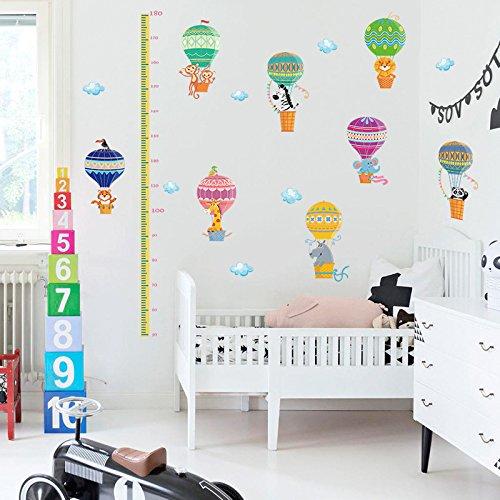 Hoge muur hoogte grafiek hoog als dieren patroon muursticker stickers voor slaapkamer jongen meisje kinderen decoratie schil meter dier hete lucht ballon hoogte meting studie decoratie achtergrond 60*90Cm
