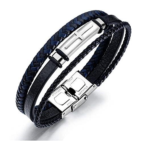 Cross Bracelet Black Leather Bracelet Braided Rope Multi Layer Stainless Steel Bangle for Men Punk Jewelry
