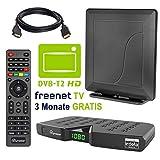HB DIGITAL DVB-T/T2 Set: Skymaster DTR5000 DVB-T/T2 Receiver, kartenloses Irdeto-Zugangssystem für freenet TV + Opticum Smart HD550 Antenne (HEVC/H.265 HDTV HDMI Ethernet USB DVBT DVBT2 DVB-T2)