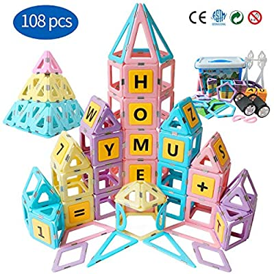 Magblock Magnetic Tiles Building Blocks Educational Toys Set Gifts for 3 4 5 6 7 8 9 10 Year Old Girls