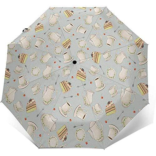 Cy-ril-Automatic tri-fold umbrella Automatischer dreifachgefalteter Regenschirm Kaffeekanne Teekanne Löffel Teller Druck Winddicht Kompakt Automatischer Dreifachgefalteter Regenschirm