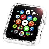 Leotop compatibile con Apple Watch Custodia Series 5/4 44mm 40mm, Metallo Cover Protettiva Bling Cornice Strass Glitter Diamante Compatibile iWatch per Donna Ragazze (40mm, Diamante Argento)