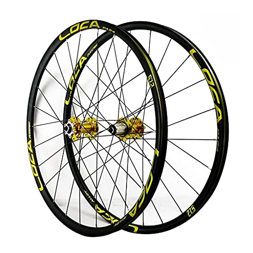 LICHUXIN MTB Bicycle Wheelset 26/27.5/29 In Mountain Bike Wheel Double Layer Alloy Rim Sealed Bearing 7-12 Speed Cassette Hub Disc Brake QR 24H (Color : Gold-1, Size : 27.5in)