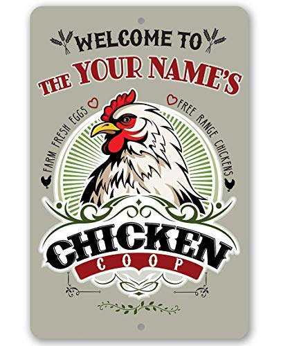 "Personalized Chicken Coop Sign - Cool Metal Sign - 8"" x 12"" or 12"" x 18"" Use Indoor/Outdoor - Great Housewarming Gift and Farm and Home Decor Under $25"