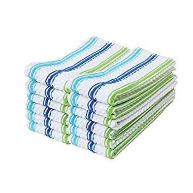 Cotton Stripe Terry Dish Towels, 15x25  Set of 12, Absorbent Durable Drying Cleaning Kitchen Towels-Blue/Green Stripe