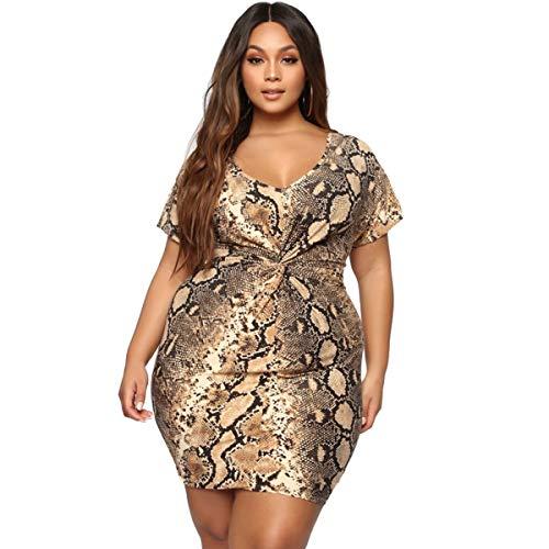 HANQING Vestido Apretado Nalgas Sexy Serpiente impresión más tamaño Vestido de Mujer,Yellow-XX-Large