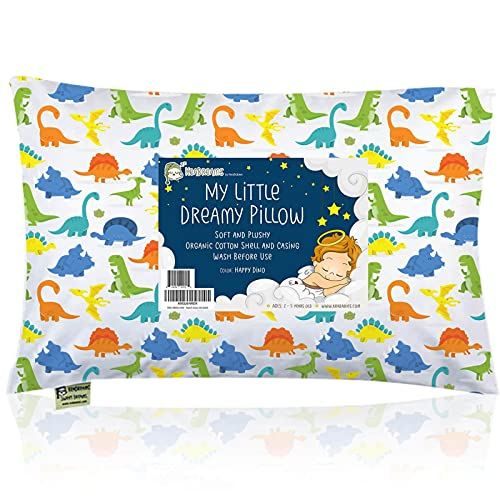 Toddler Pillow with Pillowcase - 13X18 Soft Organic Cotton Baby Pillows for Sleeping - Machine Washable - Toddlers, Kids,Boy, Girl - Perfect for Travel, Toddler Cot, Bed Set (Happy Dino)