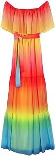 Rainbow Long Strapless Dress with Belt