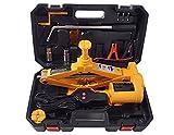 YASI MFG Scissor elettrico sollevatore jack 2ton 42cm kit per auto e SUV + supporto ruota + doppio teste + impugnatura manovella
