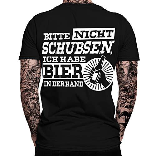 Bitte Nicht schubsen, ich Habe Bier in der Hand T-Shirt | Sprüche | Lustig | Fun Shirt | Nerd | Spaß Tshirt | Festival | Alkohol | Statement