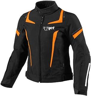 Jet Motorradjacke Damen Mit Protektoren Textil Wasserdicht Winddicht (3XL (EU 46 48), Orange)