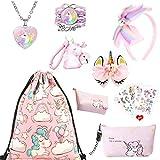 ZCOINS Einhorn Geschenke für Mädchen, rosa Kordelzug Geldbörse Make-up Tasche Halskette Armband Haarschmuck Taschenanhänger und...