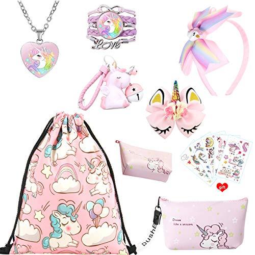 Einhorn Geschenke für Mädchen, rosa Kordelzug Geldbörse Make-up Tasche Halskette Armband...