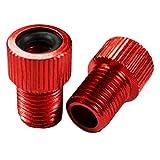 Charmate - 2 adaptadores de válvula de aluminio para bicicleta, color rojo, válvula DV SV Dunlop/francesa a válvula de coche AV – con junta tórica