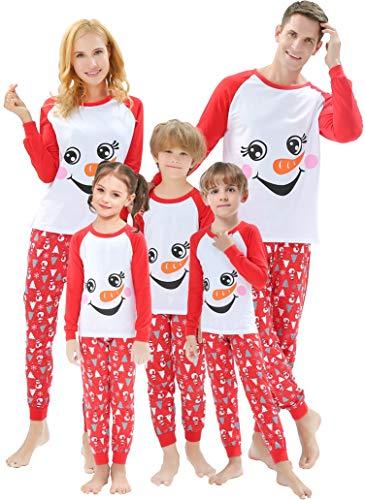 Pijamas de Natal para a família combinando para mulheres, homens listrados, roupas de férias para meninos e meninas, Christmas-white-snowman, Kid-2 Years