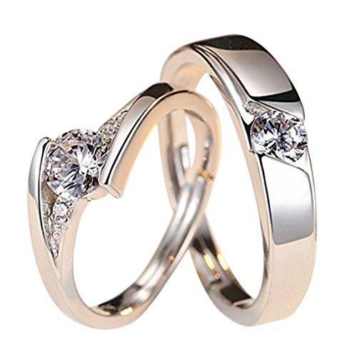 Shuda Paarschmuck Öffnung verstellbar Liebe Kristall Ringe für Jahrestag Ehering Verlobungsring Brautschmuck Set (2 Stück)