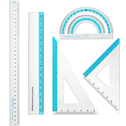 Set de 5 Reglas de Aluminio Kit de Reglas Arquitectónicas Juego de Matemáticas de Regla Recta de 15 cm 30 cm, Regla Triangular Transportador de Metal Regla de Escala para Oficina Escuela