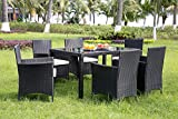 Leisure Zone Rattan Dining Table and Chairs Outdoor Rattan Furniture Set (Black)