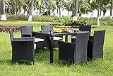 <span class='highlight'>Leisure</span> <span class='highlight'>Zone</span> Rattan <span class='highlight'>Dining</span> <span class='highlight'>Table</span> and Chairs Outdoor Rattan Furniture Set (Black)