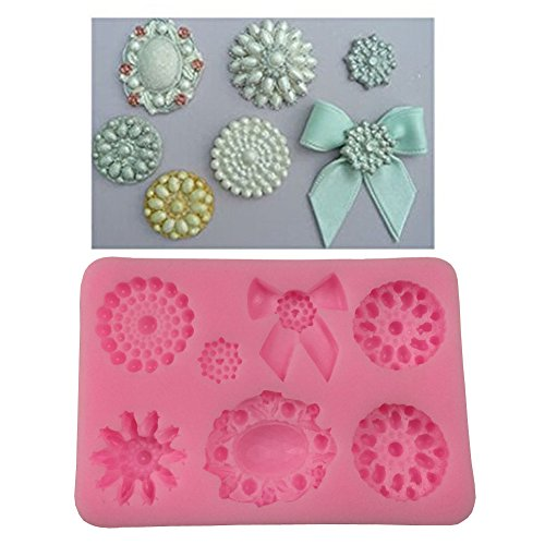 Yunko 3d Brooch Jewelry Bowknot Cupcake Decorating Mold Silicone Fondant Cake Mould