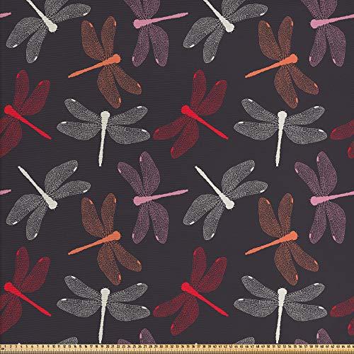 ABAKUHAUS Libélula Tela por Metro, Ingeniosa Alas Par, Decorativa para Tapicería y Textiles del Hogar, 1M (148x100cm), Multicolor